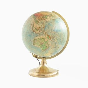 Vintage German Brass Illuminated Glass Globe from JRO Verlag