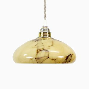 Marble Glass Pendant Lamp, 1930s