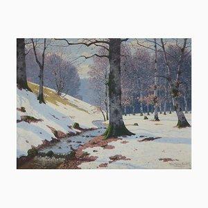 Antiker Hölzerner Fluss in Birkenwald Gemälde von Fritz Müller-Landeck