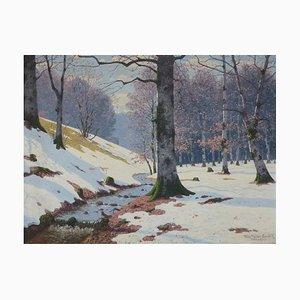 Antique Wooden River in Birch Forest Painting by Fritz Müller-Landeck