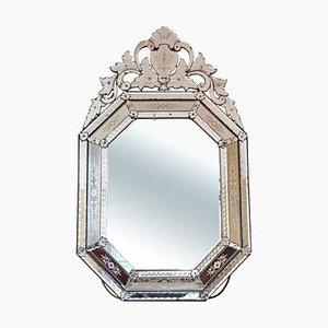 Specchio da parete grande antico veneziano in vetro