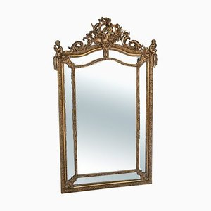 Large Antique Gilt Wall Floor Cushion Mirror
