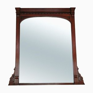 Large Antique Carved Mahogany Wall or Overmantle Mirror