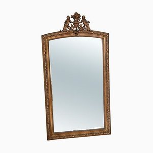 Large Antique Gilt Overmantle Wall or Floor Mirror