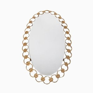 Hollywood Regency Oval Gilt Mirror, 1970s
