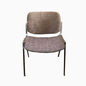 Cotton and Velvet Model DSC 106 Dining Chairs by Giancarlo Piretti for Castelli / Anonima Castelli, 1960s, Set of 4