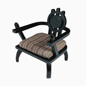 Antique Ebonised Black Oak Armchair by Ettore Zaccari, 1910s