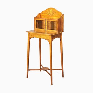 Small Antique Edwardian Inlaid Satinwood Display Cabinet on Stand, 1900s