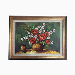 Peinture à l'Huile sur Panneau de Fibre de Verre par Armand Lacour, 1960s