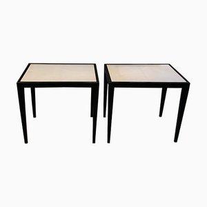Tables d'Appoint Vintage en Vélin et Laque Noire dans le Style de Jean-Michel Frank, Set de 2