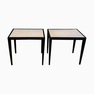 Vintage Vellum and Black Lacquer Side Tables in the Style of Jean-Michel Frank, Set of 2