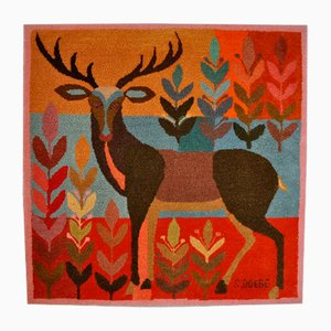 Knotting Deer Rug by Siegfried Doege for Manufaktur Tetex München, 1960s