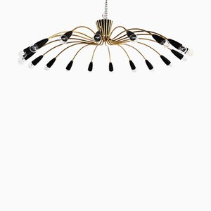 Vintage Sputnik 18-Light Chandelier in Brass and Aluminium, 1960s
