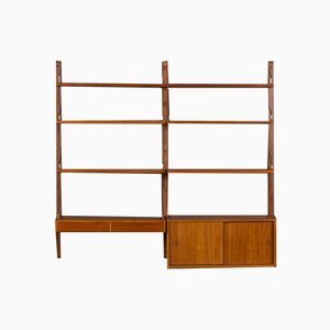 Wall Unit Shelf with Desk and Small Cabinet by Poul Cadovius for Cado, 1960s, Set of 8