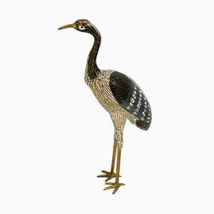 Vintage Wading Bird Figurine in Brass & Cloisonné Enamel