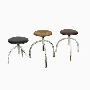 Vintage Industrial Adjustable Swivel Stools, Set of 3
