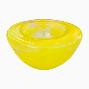 Yellow Glass Tealight Holder by Anna Ehrner for Kosta Boda, 1990s