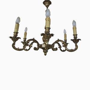 Kronleuchter im Louis XV Stil aus Bronze mit 6 Leuchten, 1950er
