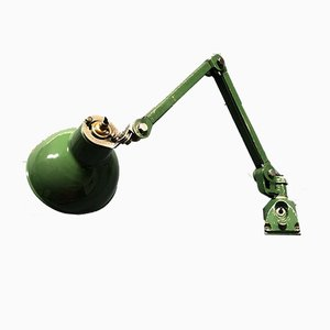 English Green Machinist Wall Light with Enamel Shade from EDL, 1940s