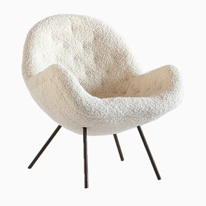 Ivory Dedar Bouclé Egg Shaped Lounge Chair by Fritz Neth for Correcta, 1950s