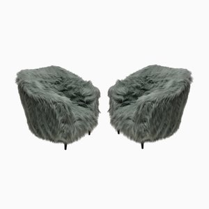 Mid-Century Italian Beech and Faux Fur Armchairs, 1950s, Set of 2