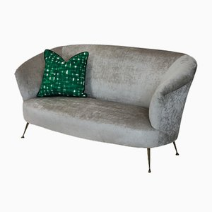 Vintage Italian Brass and Velvet Sofa by Ico Luisa Parisi, 1950s