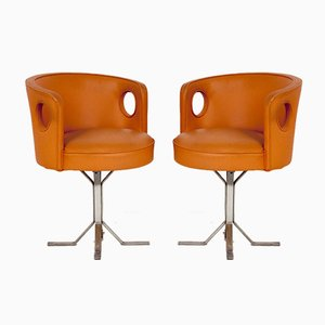 Mid-Century Ledersessel in Orange von Jordi, Vilanova, 1970er, 2er Set