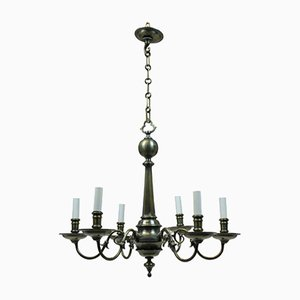 Antique Gothic Style French Bronze Chandelier, 1900s