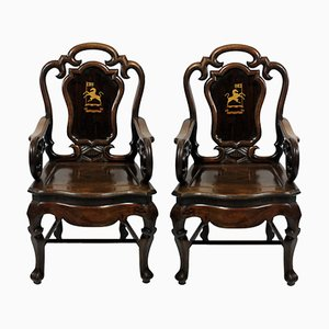 Antique Rosewood Armchairs, 1830s, Set of 2