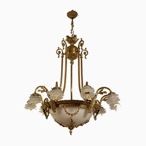 Large Empire Style Gold Chiselled Brass 12-Light Chandelier, 1940s