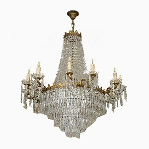 Large Empire Style Crystal and Engraved Glass 18-Light Chandelier, 1940s