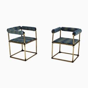 Stahlrohr Studio Armlehnstühle, 1970er, 2er Set