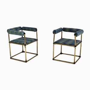 Tubular Brass Studio Armchairs, 1970s, Set of 2