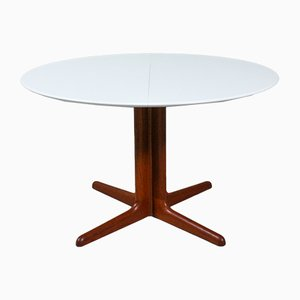 Round Danish Teak and White Dining Table from Skovby, 1960s