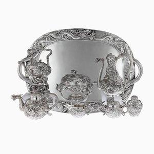 Antikes Japenese Tee- und Kaffeeset aus massivem Silber von Samurai Shokai für Samurai Shokai, 1900er, 8er Set