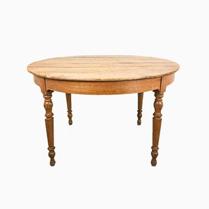 Antique Round Elm Side Table, 1920s