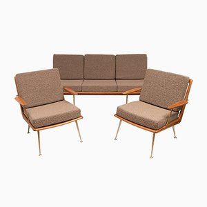 German Boomerang Sofa and Chairs Set by Hans Mitzlaff for Soloform, 1953, Set of 3