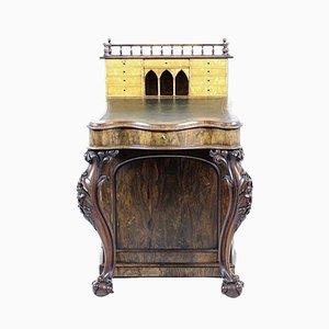 Geschnitzter irischer Palisander, Ahorn und Leder Davenport Schreibtisch, 1840er