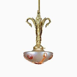 Art Nouveau Nautilis Ceiling Lamp by Loetz Glass, 1920s