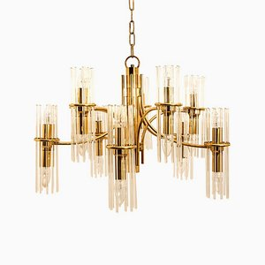Brass Rod Chandelier by Gaetano Sciolari for Lightolier, 1960s