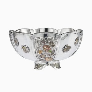 Antique Japanese Meiji Period Solid Silver and Enamel Bowl, 1900s