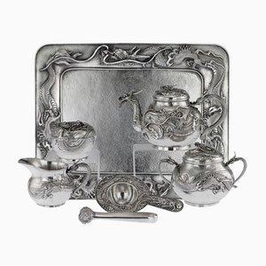 Antikes japanisches Drachen Tee Set aus massivem Silber von Shokosha, 1900er, 7er Set