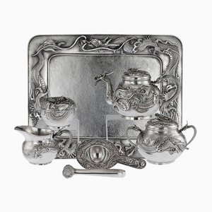 Antique Japanese Solid Silver Dragon Tea Set by Shokosha, 1900s, Set of 7
