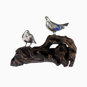 Antike japanische Modelle aus massivem Silber & emaillierter Taube auf einem Ständer von Hasegawa Issei, 1890er