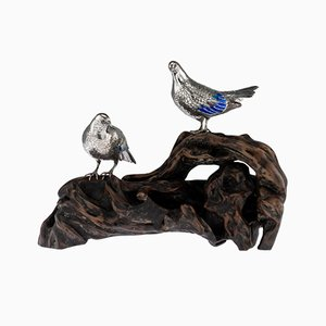 Antique Japanese Solid Silver and Enamel Pigeon Models on a Stand by Hasegawa Issei, 1890s