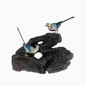 Antique Japanese Solid Silver and Enamel Wagtail Models on a Stand by Baisetsu, 1890s