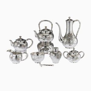 Antique Japanese Solid Silver Tea and Coffee Set by Miyamoto Skoko, 1900s, Set of 8