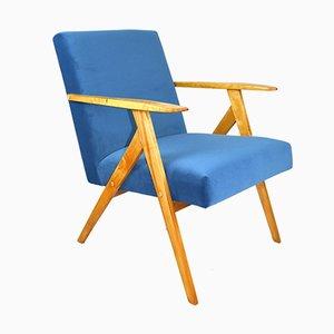 Vintage Blue Marine Velvet Armchair, 1970s