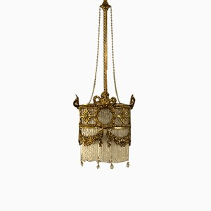 Art Nouveau Italian Murano Glass and Chiseled Brass Chandelier, 1900s