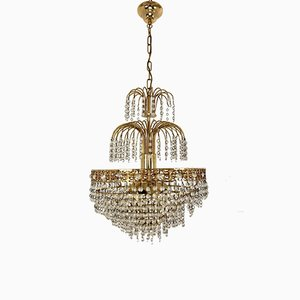Mid-Century Metal and Glass 6-Light Chandelier, 1950s